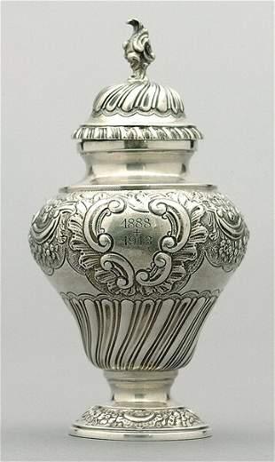 English silver tea caddy,