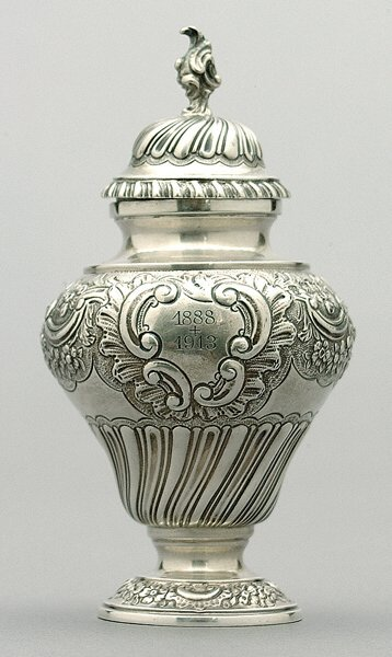 1: English silver tea caddy,