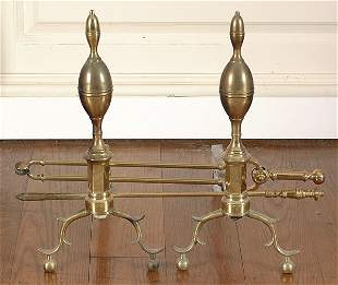 Pair Federal-style andirons, poker,