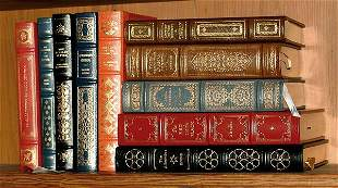 Ten leather bound books,
