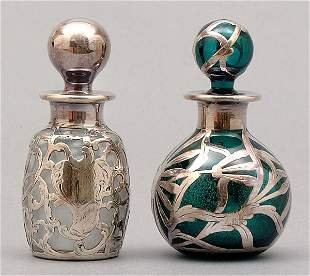 Two silver overlay perfumes
