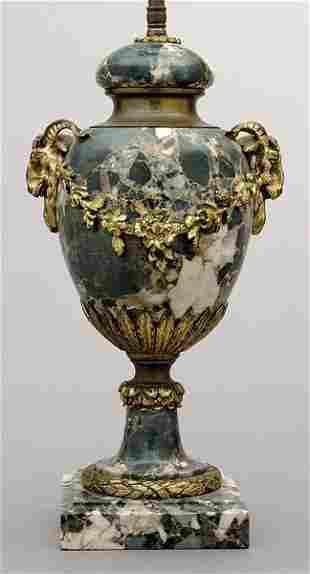 Ormolu mounted marble lamp,