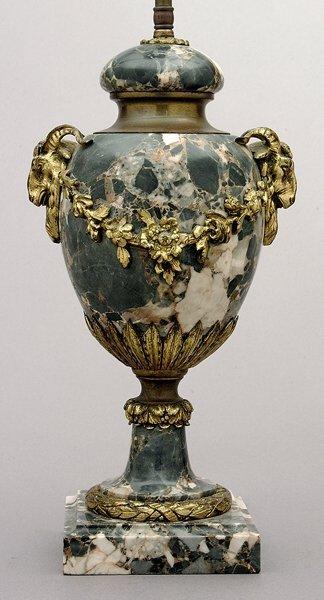 12: Ormolu mounted marble lamp,