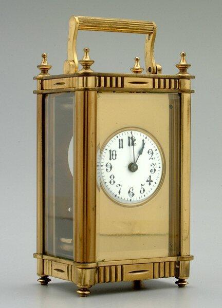 14: Brass carriage clock,