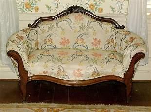 Victorian walnut sofa,