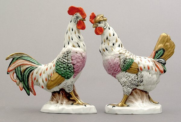 16: Continental porcelain rooster and hen,