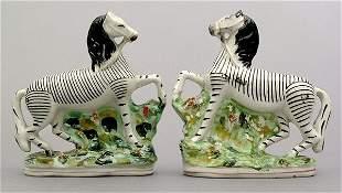 Pair Staffordshire zebras,