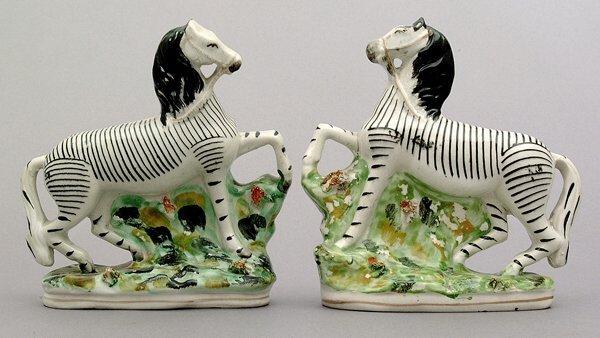 19: Pair Staffordshire zebras,