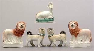 Five Staffordshire figures