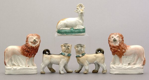 21: Five Staffordshire figures: