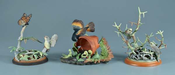 12: Three Boehm porcelain bird figurines: