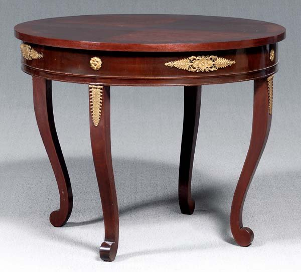 19: French Empire style center table,