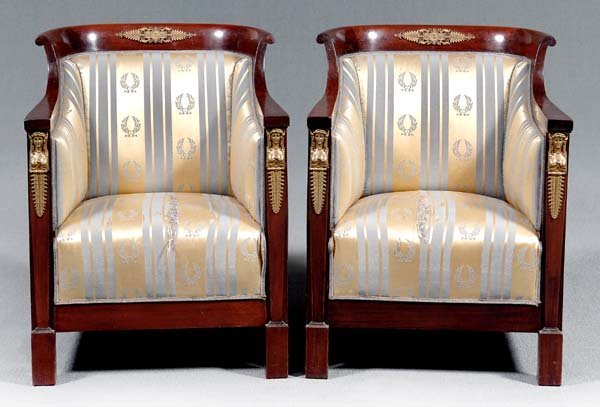20: Pair French Empire style chairs: