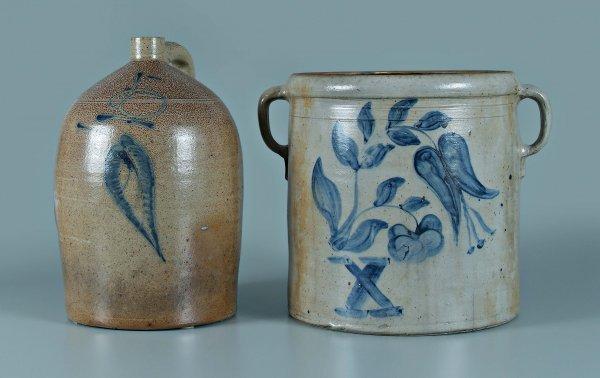640: Two pieces salt glaze stoneware: