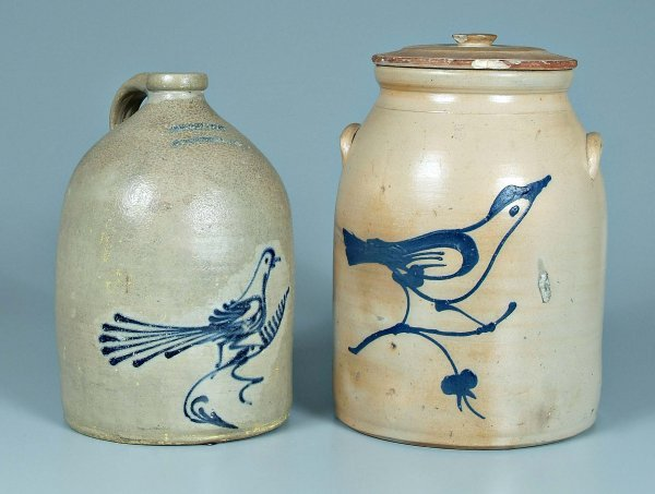 646: Two pieces bird decorated stoneware: