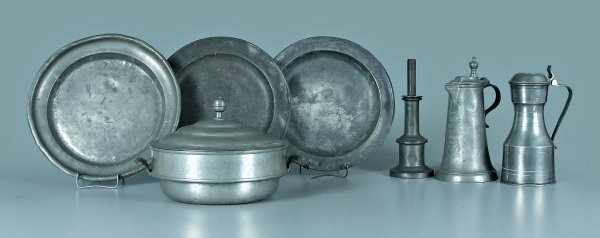 649: Seven pieces assorted pewter: