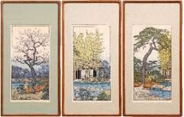Three Toshi Yoshida woodblock prints