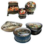 Six Russian Lacquer Fairy Tale Unusual Boxes