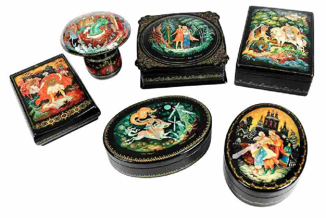 Six Russian Lacquer Kholuy Fairy Tale Boxes
