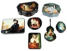 Seven Russian Lacquer Portrait Boxes