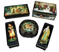 Five Large Russian Lacquer Fairy Tale Boxes