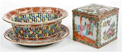 Three Chinese Export Porcelain Table Objects