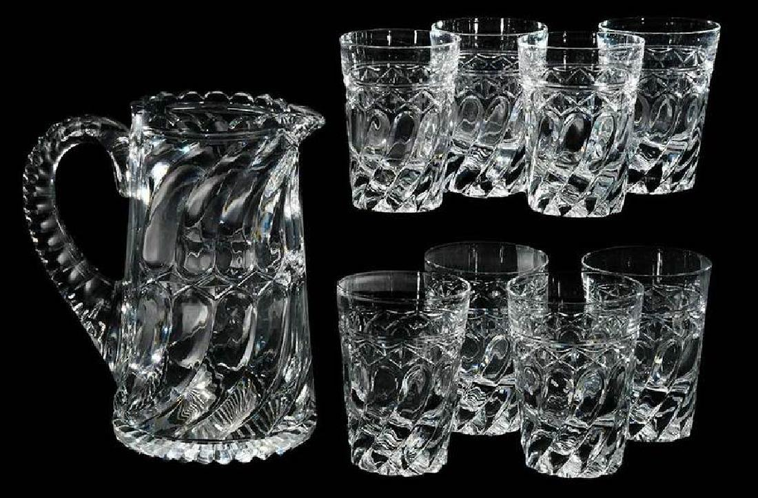 Cut Glass J. Hoare Pitcher, Eight Tumblers