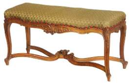 Provincial Louis XV Style Carved Walnut Bench