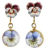 Antique 14kt Diamond  Enamel Earclips