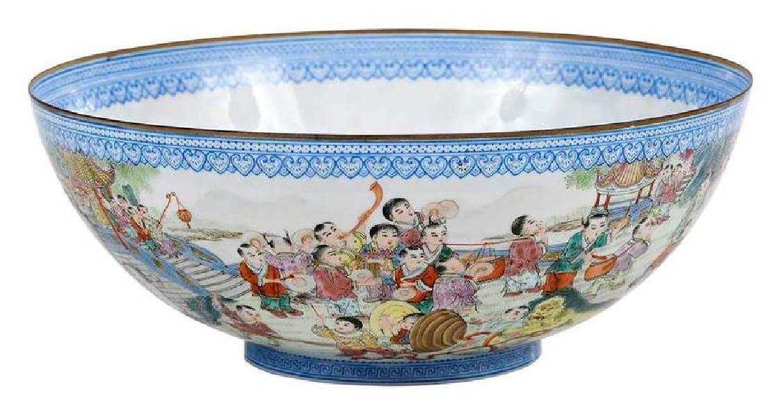 """Chinese Eggshell Porcelain """"Hundred Boys"""" Bowl"""
