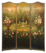 Vintage HandPainted Leather Room Screen