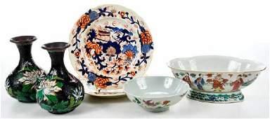 Six Asian Porcelain, Bronze Tableware Objects