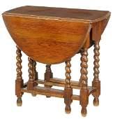 Jacobean Style Oak Drop Leaf Table