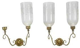 Pair Brass Sconces with Three Glass Shades