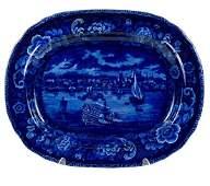 Historical Blue Staffordshire Platter, Detroit