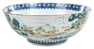 Fine Chinese Export Hunt Scene Punch Bowl
