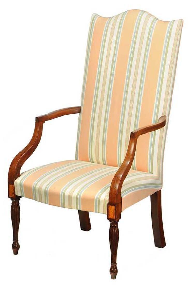 Fine Federal Inlaid Mahogany Lolling Chair