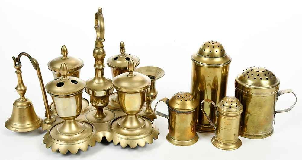 Five Early Brass Objects, Casters, Standish