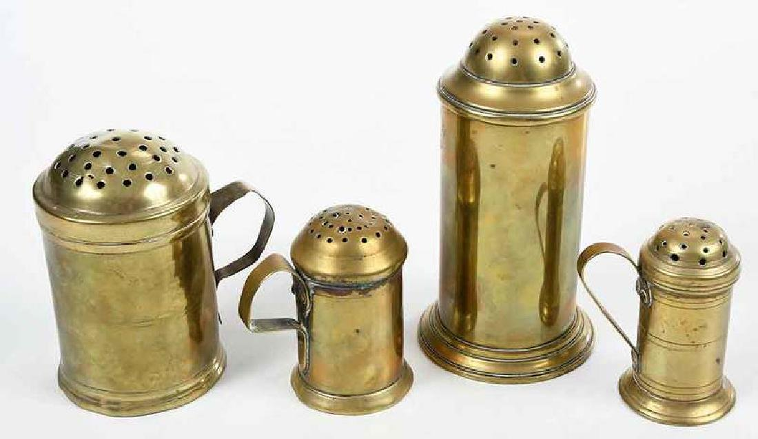 Five Early Brass Objects, Casters, Standish - 3