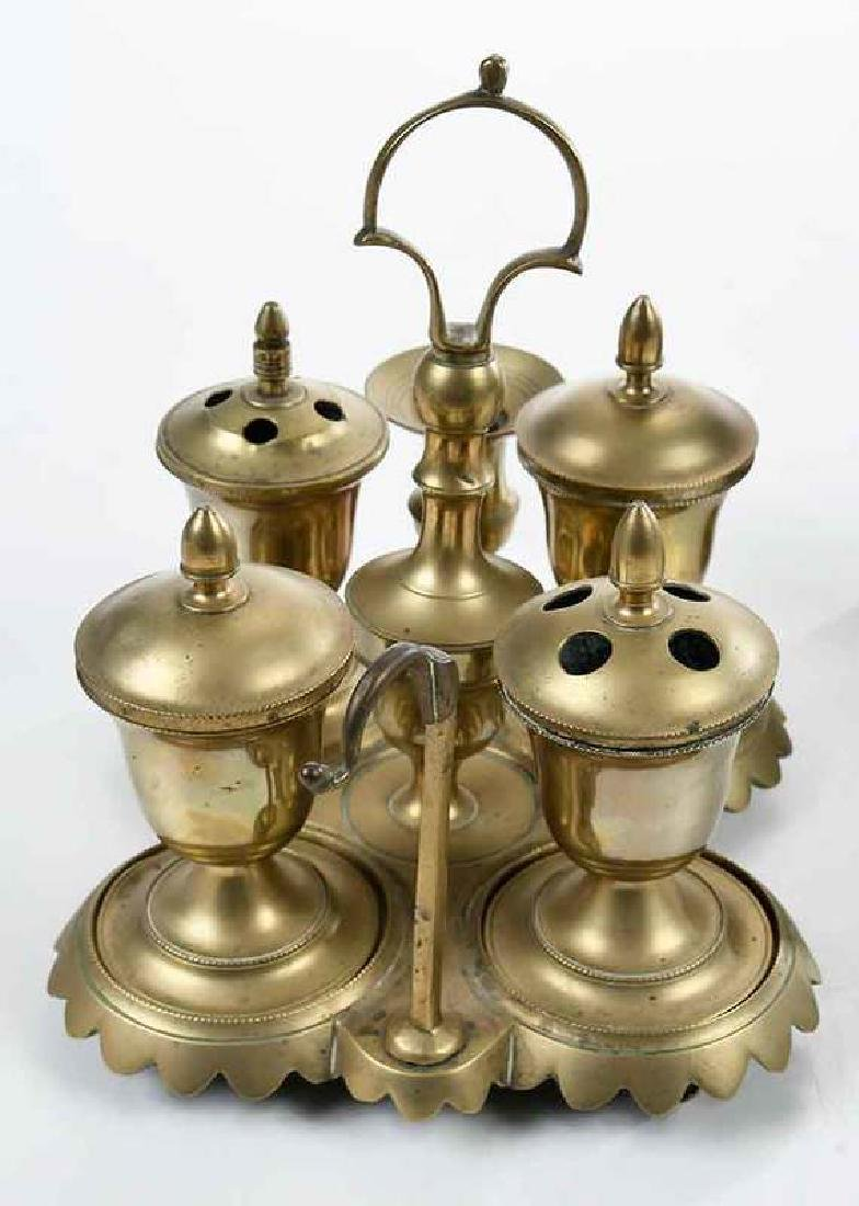 Five Early Brass Objects, Casters, Standish - 6