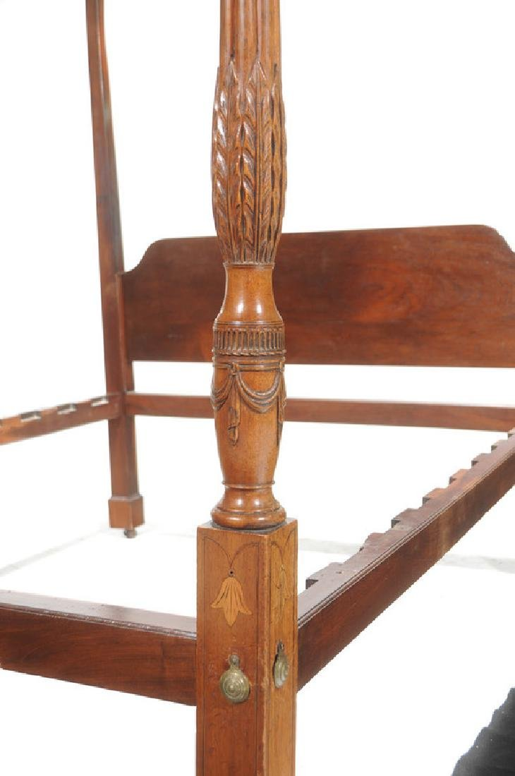 Rare Southern Federal Tobacco Leaf Carved Bed - 2