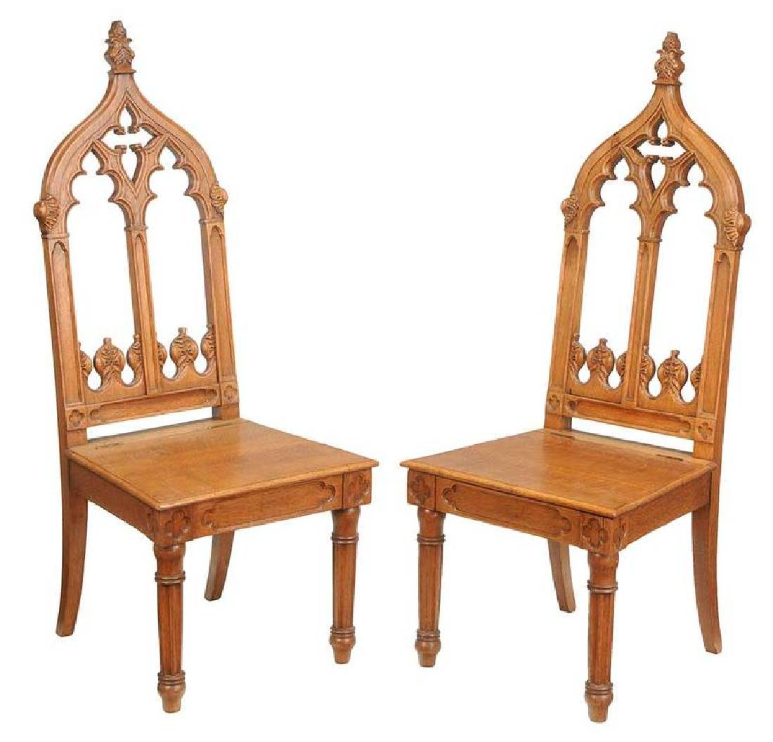 ... Pair Gothic Revival Carved Oak Hall Chairs  sc 1 st  LiveAuctioneers & Vintage Gothic Chairs for Sale u0026 Antique Gothic Chairs