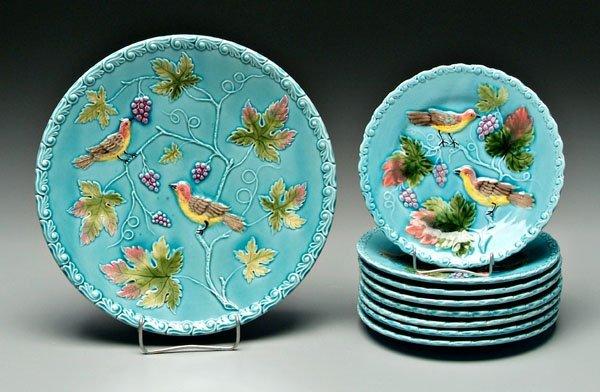 1: Set of eight majolica plates: