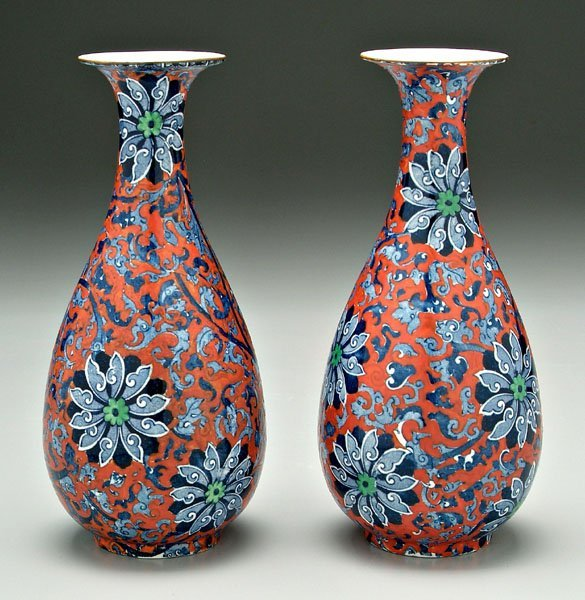 3: Pair English ironstone vases:
