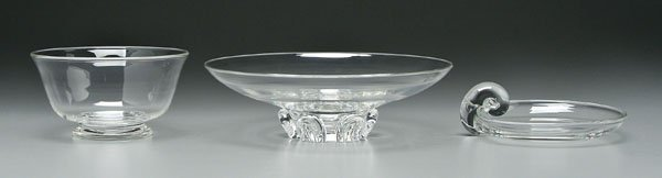 13: Three pieces Steuben glass:
