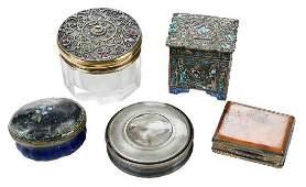 Five Lidded Metal Miniature Pill Boxes