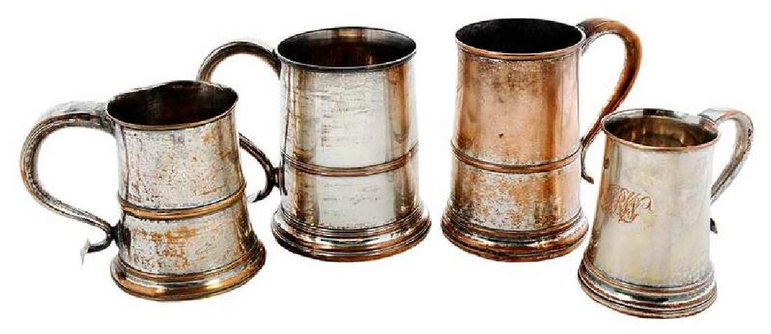 Four Silver on Copper Tankards
