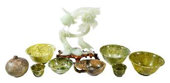 Nine Asian Carved Hardstone Objects