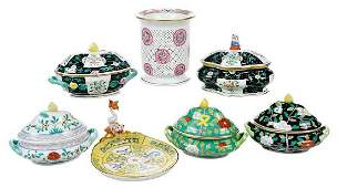Seven Herend Porcelain Table Objects