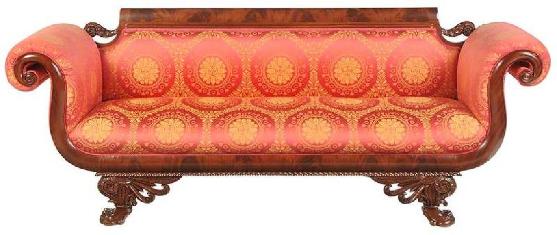 American Classical Carved Mahogany Sofa